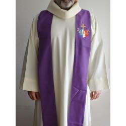 Étole violette pour prêtre avec logo du diocèse aux Armées