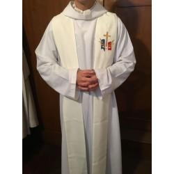 Étole blanche pour prêtre avec logo du diocèse aux Armées