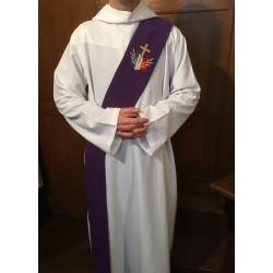 Étole violette pour diacre avec logo du diocèse aux Armées