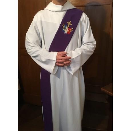 Étole réversible Blanche/Violette pour diacre avec logo du diocèse aux Armées