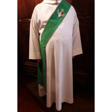 Étole verte pour diacre avec logo du diocèse aux Armées