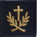 Insigne velcro service courant brodé main : aumônier du culte catholique