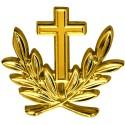 Insigne métallique de calot d'aumônier militaire catholique